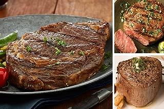 USDA Prime Angus Beef Gift Set - Classic American Griller Steak Set Includes 2 (10oz) Angus Beef Ribeyes, 2 (10oz) Beef Strips, 2 (6oz) Top Sirloins, 4 (1/2lb) Steak Burgers & Gourmet Steak Seasoning
