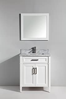 Vanity Art 30 Inch Single Sink Bathroom Vanity Set | Carrara Marble Stone, Soft Closing Doors Undermount Rectangle Sinks with Free Mirror - VA2030-W