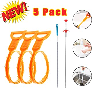 Drain Clog Remover, Prowithlin Drain Snake Clog Remover, Drain Cleaning Brush, Clogged Drain Hair Remover, Snake Hair Drain Clog Remover Cleaning Tool For Bath Tub, Kitchen Sink, Toilet etc (5 Pack)