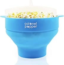 Colonel Popper Microwave Popcorn Maker Air Popper Silicone Bowl - Use any Kernels, Salt, Oil (Blue)