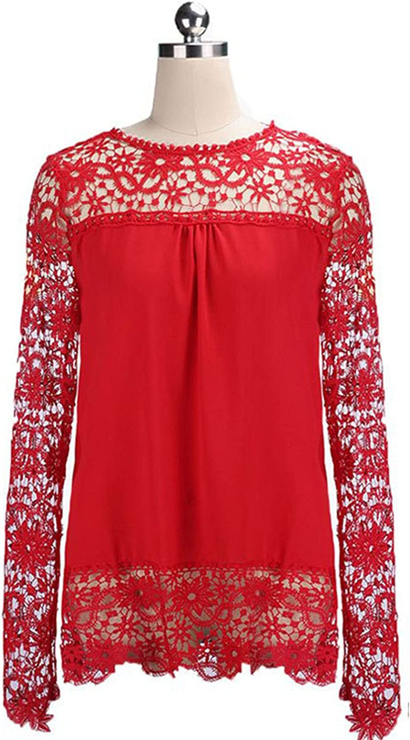 Unomatch Women Top Lace Decorated Loose Waist Shirt and Blouse Red
