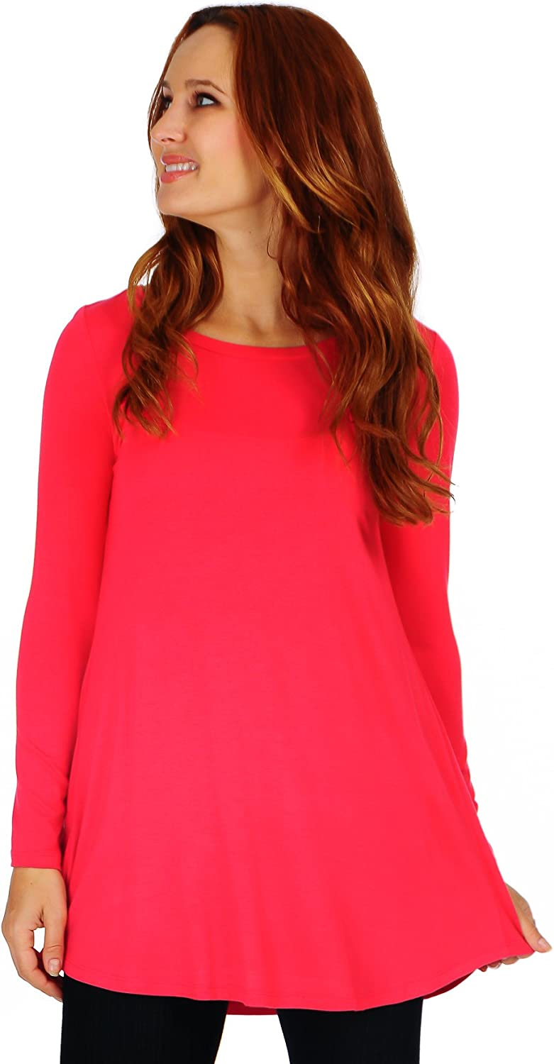 Women's Scoop Long Sleeve Pleated Flare Blouse Top Tunic Shirt (Size: S-5X)