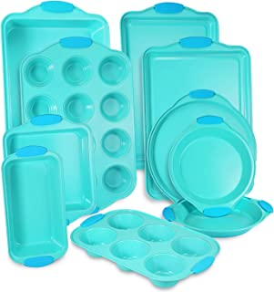 10-Piece Nonstick Bakeware Set with Blue Silicone Handles with Baking Pans, Baking Sheets, Cookie Sheets, Muffin Pan, Bread Pan, Pizza Pan and Cake Pan, Oven Safe