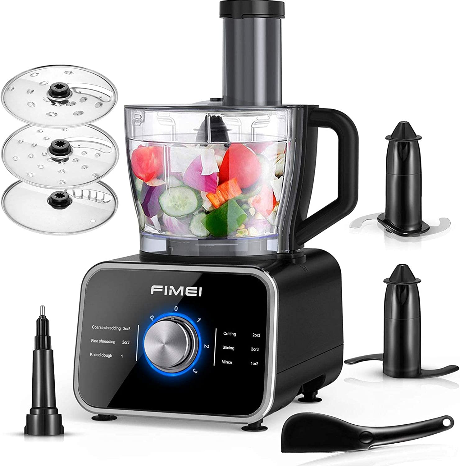 Food Processor FIMEI 12 Cup Multifunctional Food Processor- Chopper, Mixer, Knead Dough Blade, Cutting, Shredding, Slicing Attachments and 3.2L Bowl, 3 Speeds Plus Pulse, Reinforced Glass Panel (Renewed)