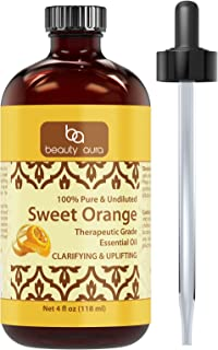 Beauty Aura Sweet Orange Essential Oil - 4 Oz. Bottle - 100% Pure, Undiluted Therapeutic Grade Oils - Ideal for Aromatherapy - Great Quality Great Value!