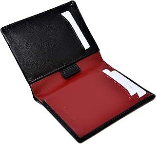 Portafoglio Porta Carte Sottile da Uomo Nero e Rosso Borgogna - Vera Pelle - Protezione RFID - 11 carte di credito, portam...
