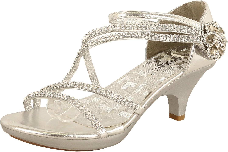 Delicacy JJF Shoes -62 Womens Strappy Rhinestone Dress Sandal Low Heel