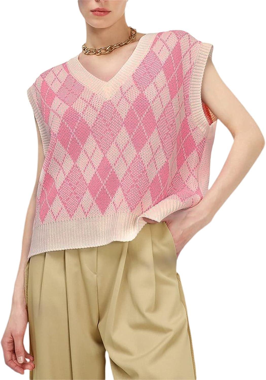 Women Argyle Knitted Vest Y2k England Preppy Style Knit Tank Top Sleeveless Plaid Pullover Sweater Vest E Girl Streetwear