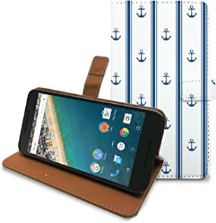 HelloGiftify Nexus 5X Case, PU Leather Case Wallet Cover with Card Slots and Stand Function (Anchor Stripe), LG Google Nexus 5X Flip Case