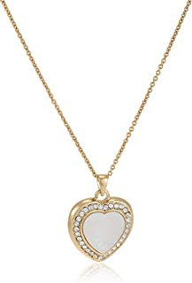 Mestige Women Glass Gold Love Affair Pearl Necklace with Swarovski Crystals