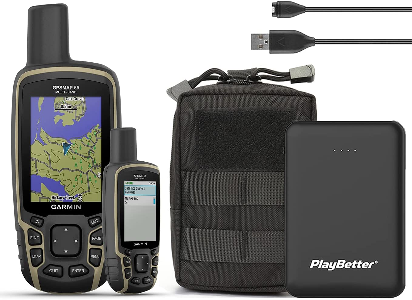 Garmin GPSMAP 65 Hiking GPS Ta New color PlayBetter Tactical Bundle with favorite