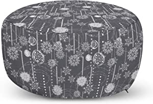Ambesonne Winter Ottoman Pouf, Monochrome Composition with Blizzard Romantic January, Decorative Soft Foot Rest with Removable Cover Living Room and Bedroom, Charcoal Grey White