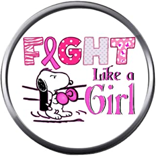 Snoopy Says Girl Fight Cancer Pink Ribbon Breast Cancer Support Awareness 18MM - 20MM Snap Jewelry Charm