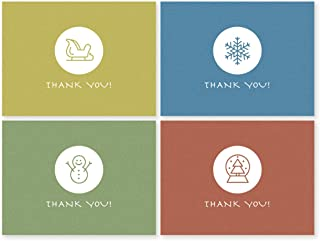 Thank You Cards Kids 24 Winter Card Boxed - Cute Simple Small Blank Box Set for Kids (Boys & Girls) / Adults 3x5 Note Card...