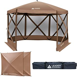 Leader Accessories Pop Up 6 Side Screen House Canopy 11'x11' ft Gazebo Tent with 2 Pack Wind/rain Panels