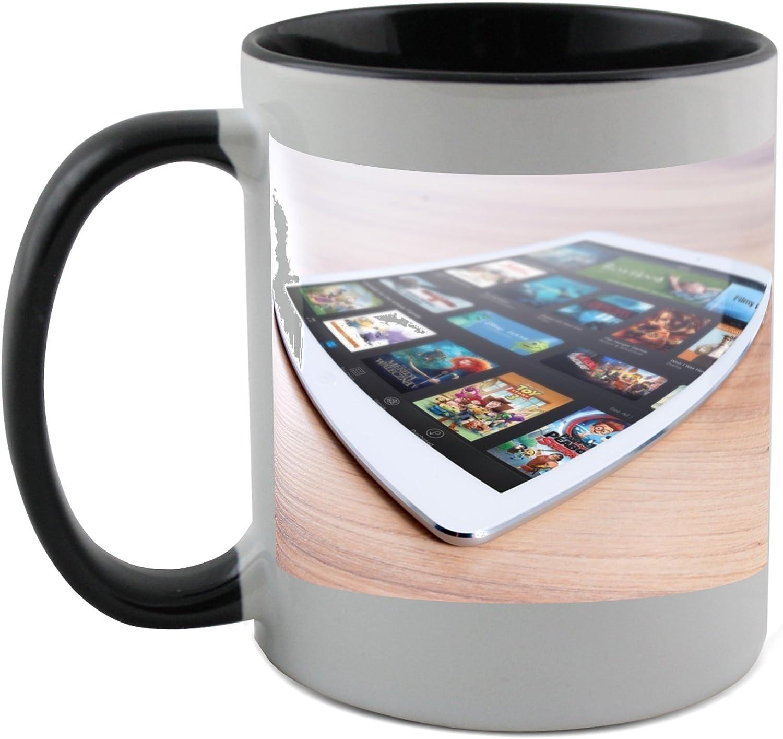Fotomax - Taza con capa negra en el interior del iPad, Mac, Apple, móvil, tablet, color blanco