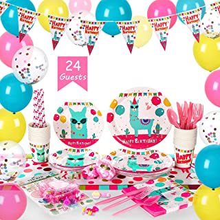Llama Cactus Party Supplies Set for 24 guests(over 280 pieces)- Alpaca Theme Kids Birthday Party Tableware Pack Include Disposable Plates Cups Banner Balloons Cutlery Tablecloth Napkins Straws And Toys