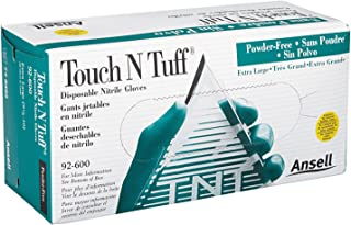 Ansell 92-600-9.5-10 Touch N Tuff Disposable Gloves, Powder Free, Nitrile, 4 mil, Size 9.5 - 10, Green