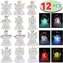 JOYIN Set of 12 Spun Glass Angel Ornaments with LED Lights for Christmas Tree Decorations