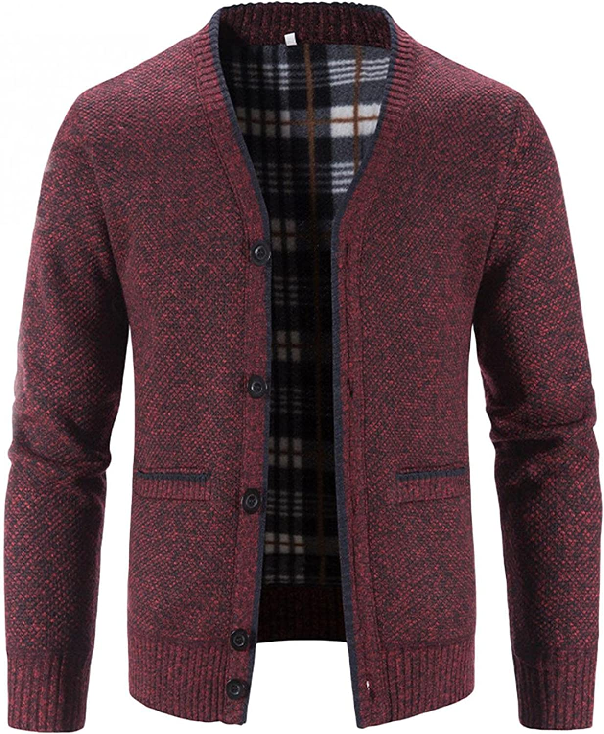 Wisgofre Men's Full Zip Cardigan Sweater Regular Fit Flannel Cardigan with Pockets Casual Winter Long Sleeve Outwear