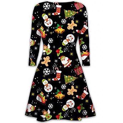 4d817c487e8 Womens Christmas Swing Dress Girls Gift Candy Ladies Gingerbread Snowman  Smock Reindeer Skater Mini Dress Size