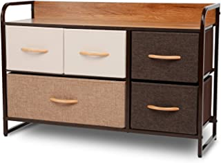 ORAF 5-Drawer Dresser, Sturdy Steel Frame, Wooden Top, Easy Pull Fabric Bins, Storage Tower Organizer Unit for Bedroom, Hallway, Entryway, Closets - Espresso Brown