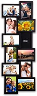 Hello Laura - Photo Frame Picture Frame Long Fall Shape Black Gallery Collection 32 by 12 inch Gallery Collage Wall Hanging Photo Frame for 4 x 6 Photo 12 Opening Photo Sockets Black Edge