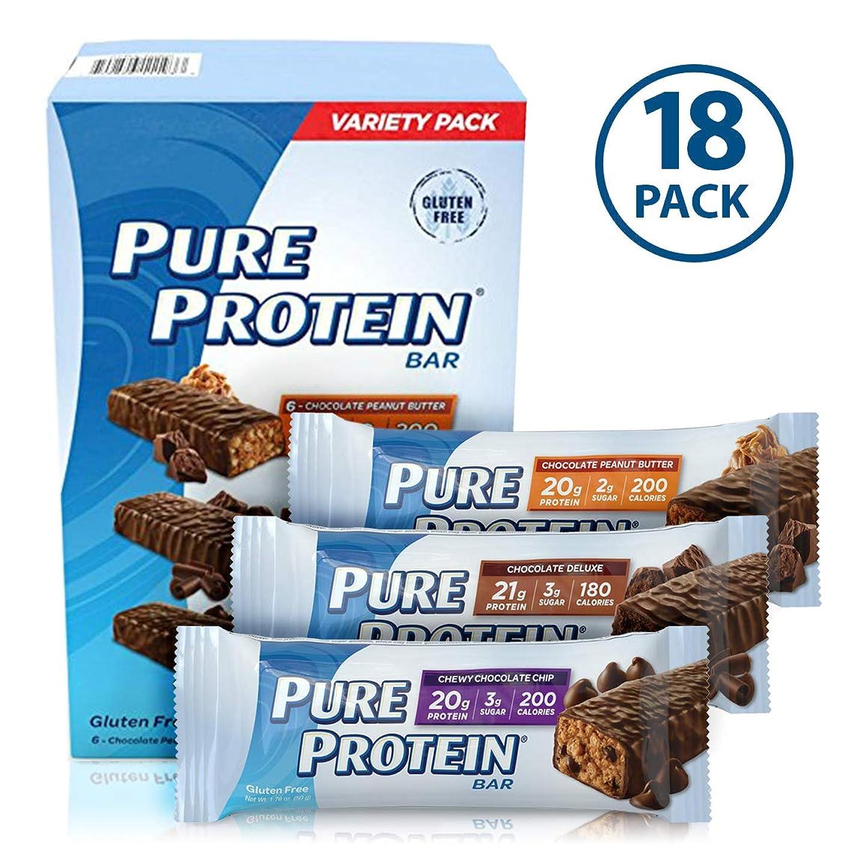 上院議員苦情文句唯物論Pure Protein High Protein Bar Variety -18/1.76 oz.  プロテイン バー 20g Protein バラエティパック 18本 [海外直送品]
