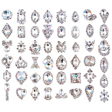 48PCS 3D Luxury Nail Art Rhinestones Nail Diamonds Glass Crystal AB Metal Gems Jewels Stones for DIY Nail Art Work Design Decoration Craft Jewelry Making