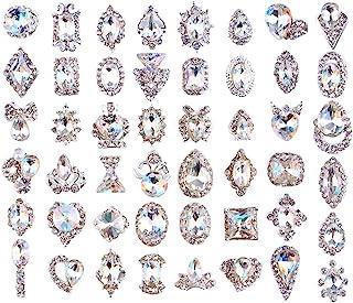 48PCS 3D Luxury Nail Art Rhinestones Nail Diamonds Glass Crystal AB Metal Gems Jewels Stones for DIY Nail Art Work Design ...
