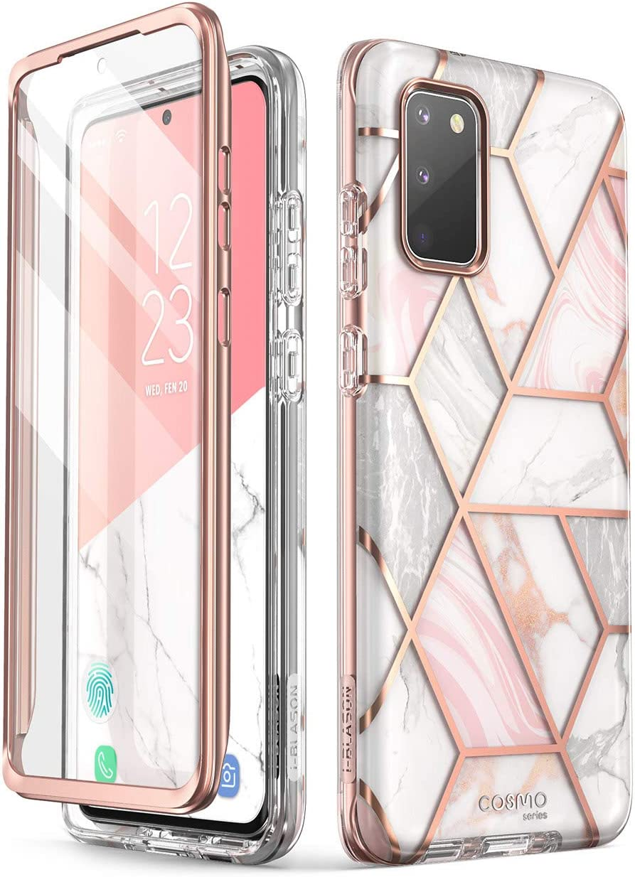 i-Blason Cosmo Series Designed for Samsung Galaxy S20 FE 5G Case (2020 Release), [Built-in Screen Protector] Slim Stylish Protective Case (Marble)