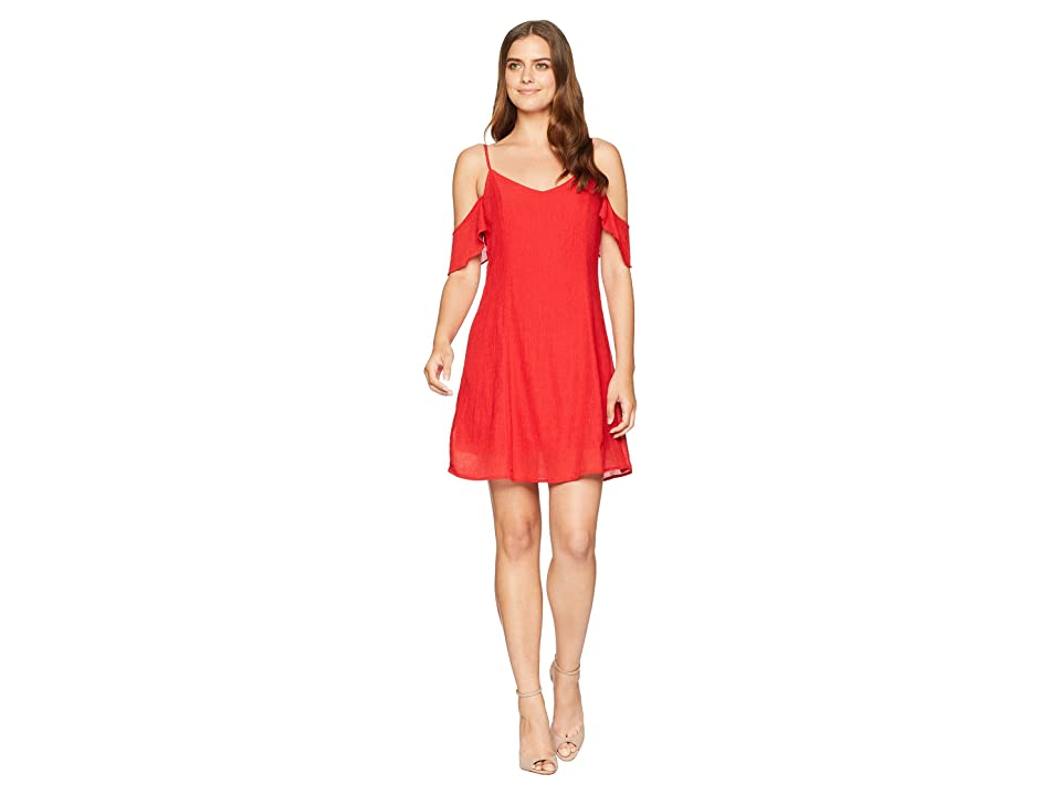 American Rose Stevie Cold Shoulder Ruffle Dress (Red) Women