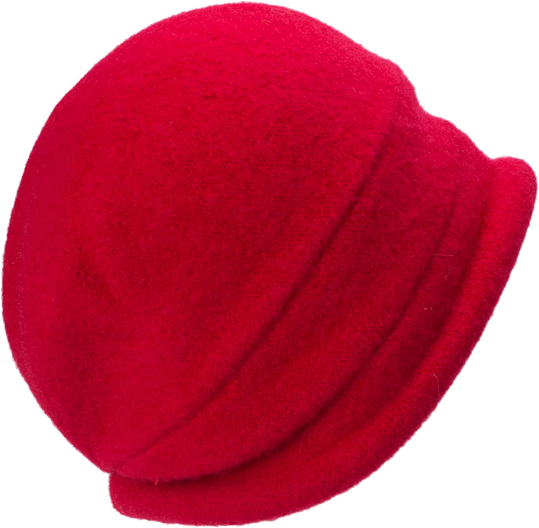 Lawliet Eleganter Vintage-Glockenhut aus Wolle für Damen. Warme Kopfbedeckung für den Winter. rot