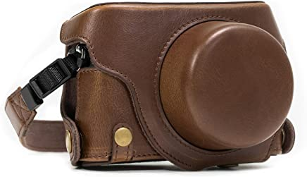 MegaGear Panasonic Lumix DMC-LX100 Ever Ready Leather Camera Case and Strap, with Battery Access - Dark Brown - MG662