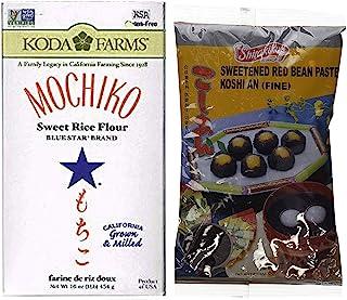Sweet Rice Flour and Koshi An (Fine Sweetened Red Bean Paste) DIY Mochi (2 Item Bundle) 1 box of Mochiko Sweet Rice Flour ...