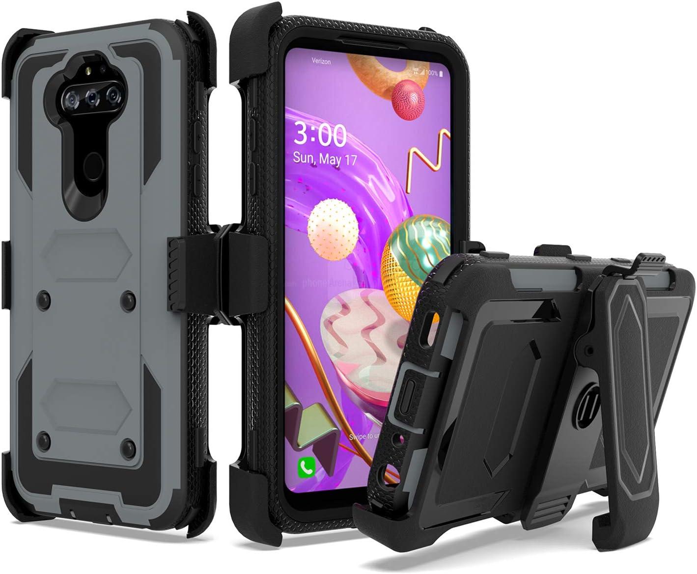 UNC Pro Belt Clip Holster Cell Phone Case for LG Aristo 5/Aristo 5 Plus +/K31/Phoenix 5/Fortune 3/Tribute Monarch/K8x/Risio 4, Heavy Duty Hybrid Shockproof Bumper Case w/Kickstand, Grey/Black