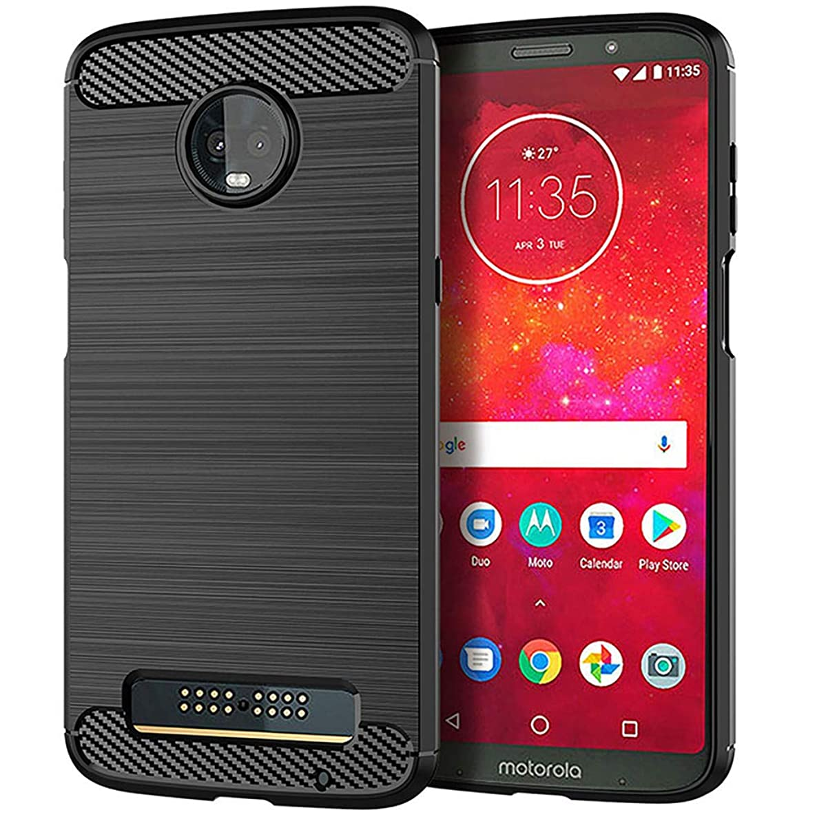 Moment Dextrad Moto Z3 Play Case,Anti-Fingerprint Protective Bumper Soft TPU Cover with Shock-Absorption and Carbon Fiber Design + Stylus (Black)