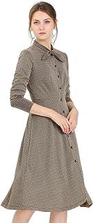 Allegra K Women's Houndstooth A-Line Bow Tie Neck Midi Plaid Autumn Dress
