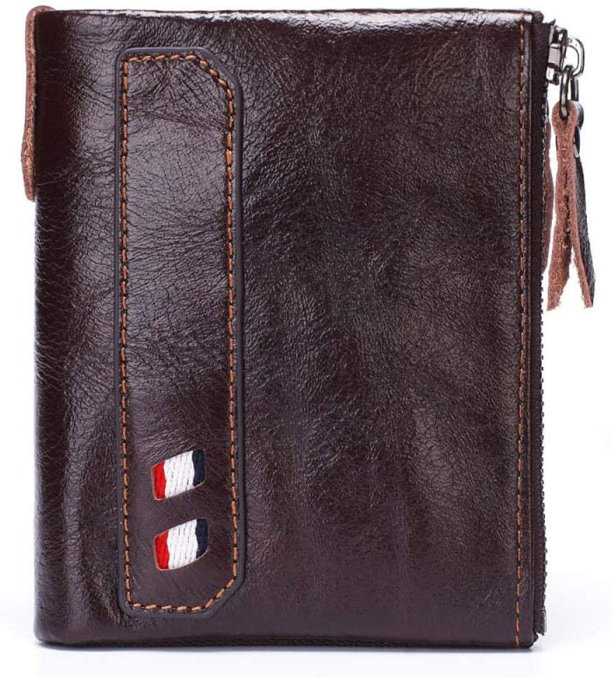 Men Soft Leather Wallet Big Capacity Purse Double Zipper Coin Pouch Money and Cards Clutch Bag-Coffee