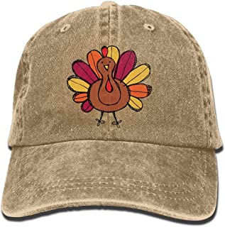 Cute Thanksgiving Turkey Adult Denim Dad Solid Baseball Cap Hat Natural