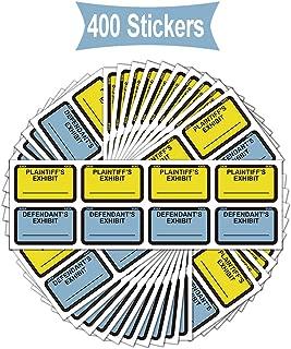 Legal Yellow Plaintiff's Exhibit Blue Defendant's Exhibit Stickers 1.65 X 1 Inches - Color-Coded Exhibit Labels 400 Stickers Per Pack