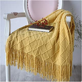 "BestBang Throw Blanket Textured Solid Soft Sofa Couch Decorative Knitted Blanket, 50"" x 82"" (Yellow)"