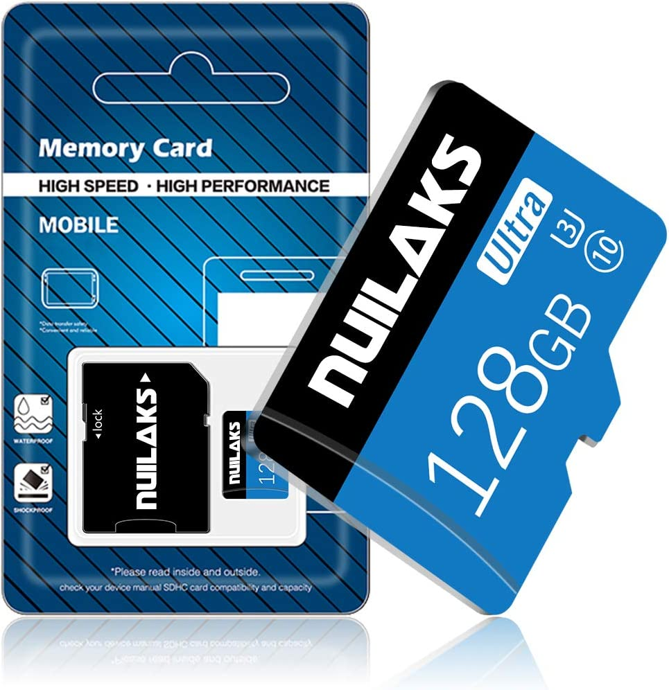 128GB Micro SD Card with Adapter (Class 10 High Speed), Memory SD Cards for Camera, Memory Card for Dash Cam, Camcorder, GPS, Surveillance, E-Reader, Drone
