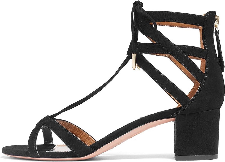 Nansay Woherrar skor skor skor Solid Square Heel Ladies skor Criss Ankle Strap Sandals Big Storlek Zipper Pumpar  uppkopplad