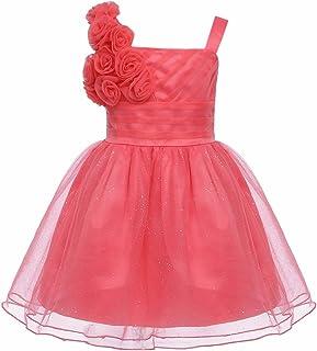 TiaoBug Baby Girls 3D Rose Flowers Glitter Princess Pageant Wedding Birthday Party Dress