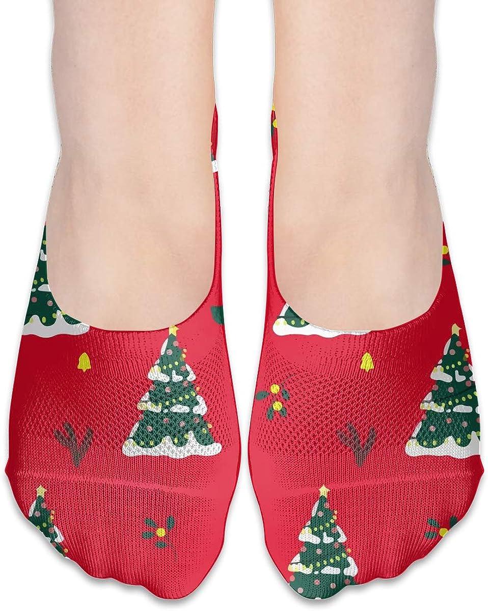 No Show Socks Women Men For Merry Christmas Xmas Tree Flats Cotton Ultra Low Cut Liner Socks Non Slip