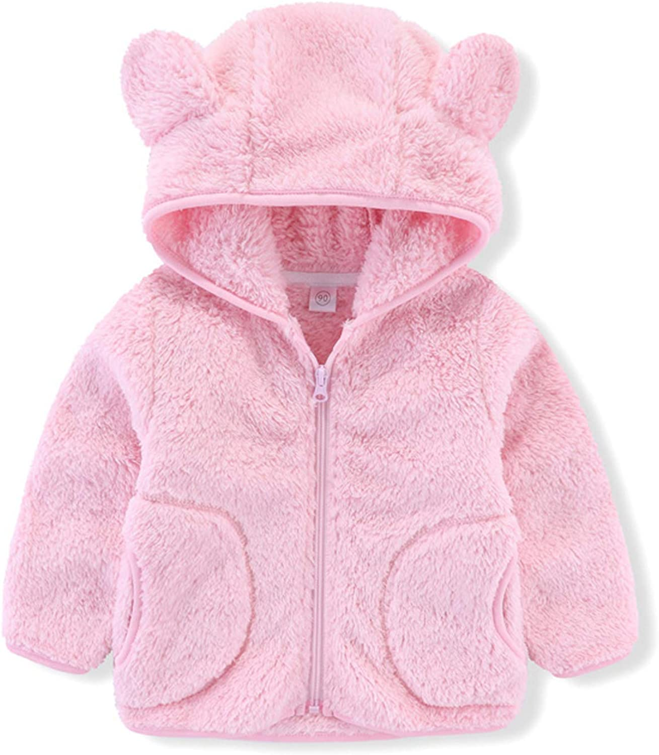 Kids Baby sale Girls Reservation Boys Flannel Zip Hooded Jacket Bear Ca with Ears