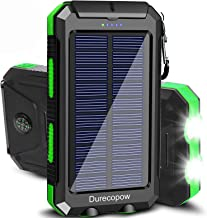 Solar Charger, Durecopow 20000mAh Portable Outdoor Waterproof Solar Power Bank, Camping External Backup Battery Pack Dual ...