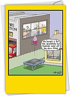 Grandma's Trampoline: Hilarious Birthday Card Featuring Grandma Ogling the Firemen Next Door, with Envelope. C4069BDG