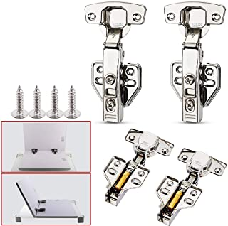 2 Pack of 13-35mm 304 Stainless Kitchen Cabinet Wardrobe Door Hinge + Screws (Straight arm (Full Cover))